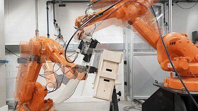 Robotic fabrication using plywood building blocks